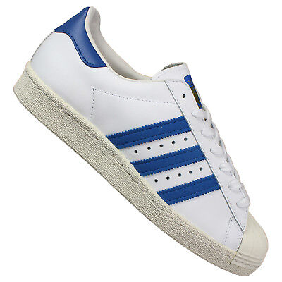 cheap for discount 80660 e2fab ADIDAS ORIGINALS SUPERSTAR 80s HERREN LEDER SNEAKER SCHUHE TURNSCHUHE WEISS  BLAU