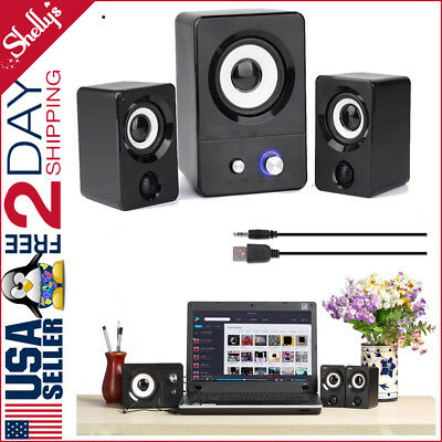Computer Speakers USB Powered  With Subwoofer System PC Laptop 2.1 Black Stereo