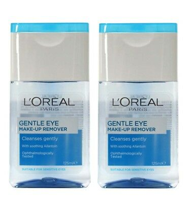 2 L'OREAL 125mL GENTLE EYE MAKE-UP REMOVER CLEANSES GENTLY - ALL NEW