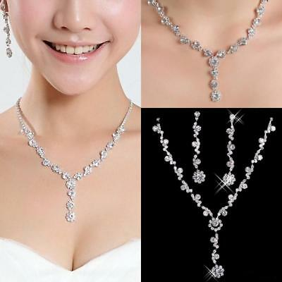 New Bridal Bride Wedding Party Jewelry Jewellery Necklace + Earrings Set