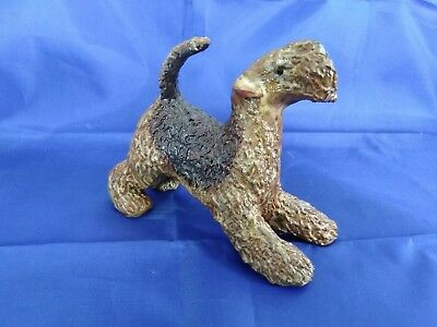 Lakeland Terrier Dog Stoneware Figurine Sculpture Statue Artist Signed OOAK