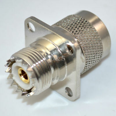 UHF Female SO239 to UHF Male PL259 with 4 Holes flange RF Coax Adapter Converter