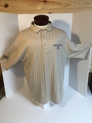 Men's Beige Stripped HARLEY DAVIDSON Polo Shirt Size L SS American Flag Buttons