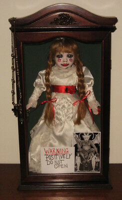 SALE CREEPY HORROR Gothic Scary Art Doll Annabelle 'The Conjuring' Wood Case
