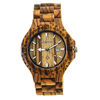 Natural Wooden Watch Quartz Analog Movement Date Wristwatch for Men Women B