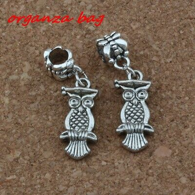 20pcs Dangle Ancient silver Dr. Owl  Charm Big Hole Beads Fit European Bracelet