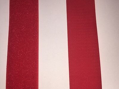Hook And Loop Fasteners - Red - 2 Inch Wide - By The Yard