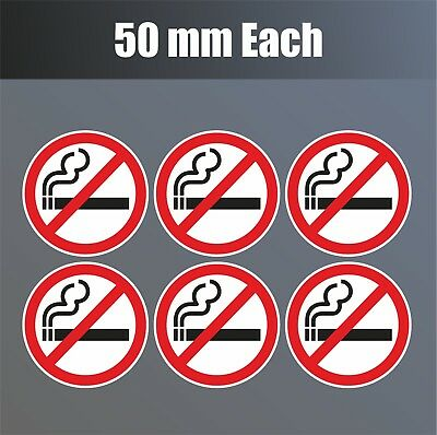 6 x No Smoking Stickers 50mm waterproof vinyl signs window car taxi van shop