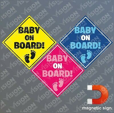 Baby on Board Sign Magnetic Sticker Car Van Pickup Boy Girl Warning Sign Notice
