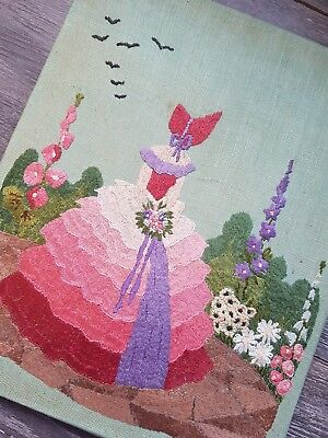 STUNNING Vintage Hand Embroidered Picture/Panel with Crinoline Lady and Flowers