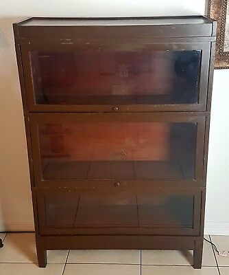 Antique GLOBE WERNICKE Stacking Barrister Lawyer Bookcase Retractable Glass Door