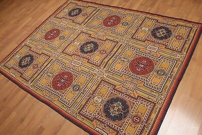 """5'5"""" x 7' Hand Woven Art Deco style 100% Wool French Needlepoint Area rug"""