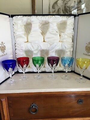 Faberge Regency Crystal Water Wine Goblets Set Of 6! Colored Crystal In Case!!