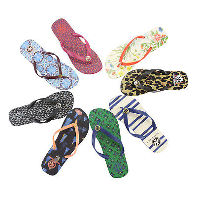fd22725bfa98 New Tory Burch Logo Rubber Sandals Flip Flops Many Prints and Colors