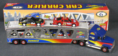 Sunoco - Car Carrier - W/ 4 Action Friction Race Cars - Sixth In A Series - 1999
