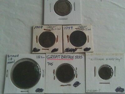 6 Rare Great Britain Coins (2) 1749 & 1835 Farthing 1816 Silver 1 Shilling Token