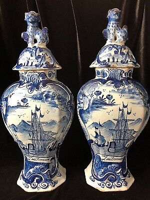 Matching Pair Delft Vase Cover Zoutman's Battle Ships American Revolution 13.5""