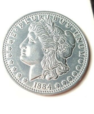 Large 3 Inch Novelty Medal/Coin/Coaster/Paperweight 1884 S Morgan Dollar Pewter