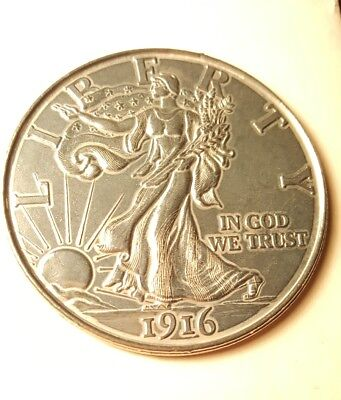 Large 3 Inch Novelty Coin/Coaster/Paperweight 1916 Walking Liberty Half Dollar