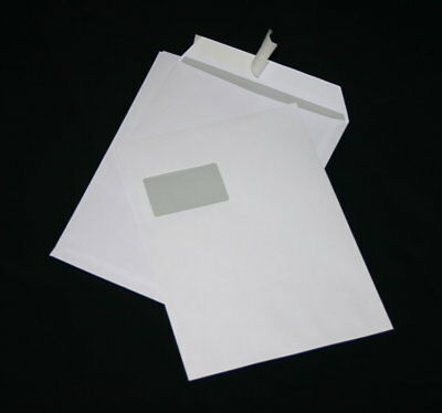 100 St Envelopes Extra Strong 120 Size DIN A4 C4 White with Window HK