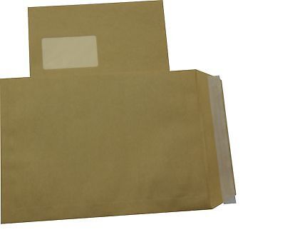 100 St Envelopes Extra Strong 120 Size DIN A4 C4 Brown with Window HK