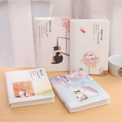 NEW! Japanese Style Cute Cat Hardcover Thicken Color Page Notebook Drawing Diary