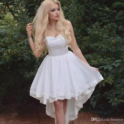 e4d40cfaa High Low Beach Wedding Dress Sweet White/Ivory A Line Bridal Gown Size 4 6