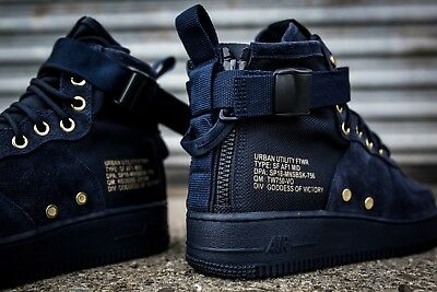 1ab4c5dfaec3a NIKE SF AF 1 MID Men s Shoes Navy Blue Suede GOLD Black 917753-400 ...