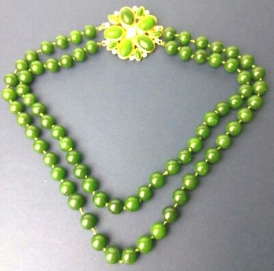 Antique GREEN Nephrite Jade 1960s Double Stands Beaded Necklace Stung & Knotted