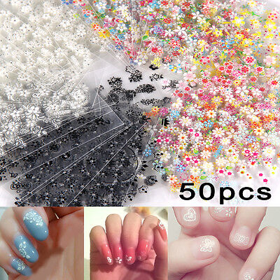 50 Sheets 3D Design Nail Art Sticker Tips Decal Flower Manicure Stickers DIY