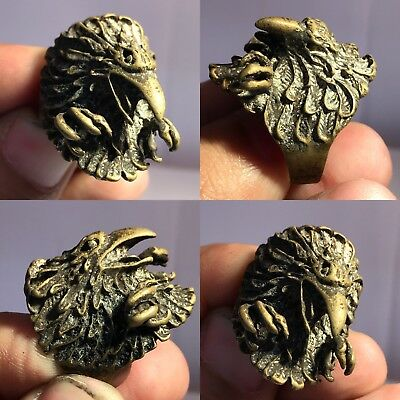 Rare Beautiful Old Bronze Falcon Intaglio Unique Ring