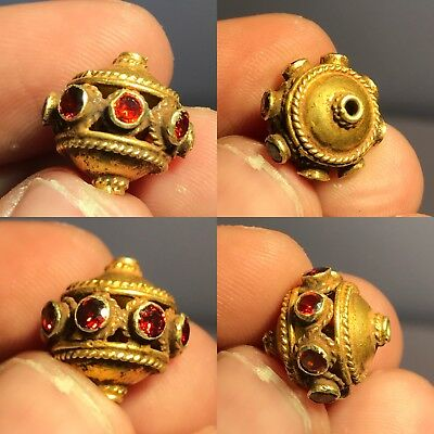 Roman 23k Solid Gold Beautiful Read Garnet  stone BEAD 13MM 2.7G