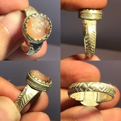 Rare Old Roman Agate Stone Medieval Silver Mix Ring #002