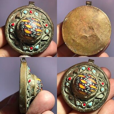 Beautiful Old Mosaic Glass Medieval Unique pendant