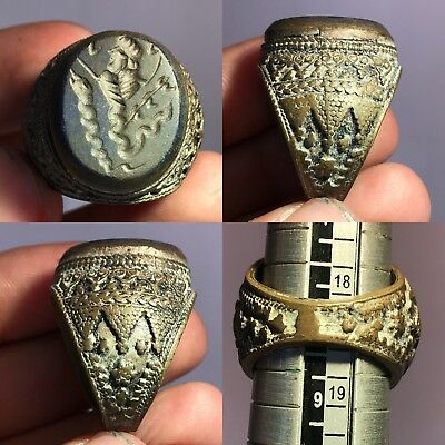 Wonderful Emperor Old  Lapis Stone Bronze Ring!