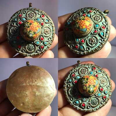 Wonderful Old Mosaic Glass Medieval Unique pendant