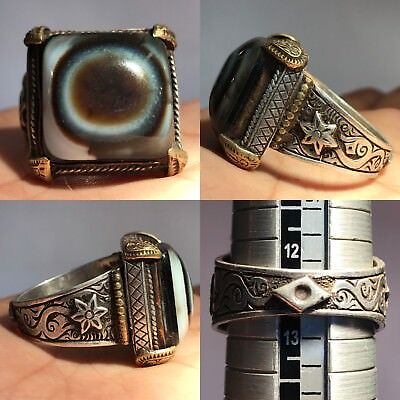 Old Eye Agate Stone Silver Medieval Ancient Ring