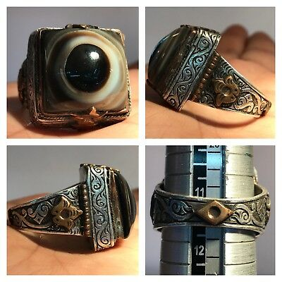 Old Eye Agate Stone Silver Wonderful Medieval Ancient Ring