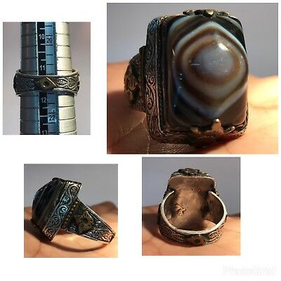 Amazing Old Eye Agate Stone Silver Medieval Ancient Ring