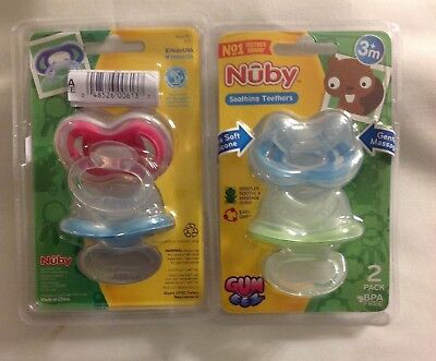 (4) Nuby Soothing Teether 3+ Months Massage Calming Soothes Gums BPA Free