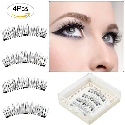 AGM 4Pcs Unechte Wimpern 3D Damen Make Up Magnet Künstliche Wimpern + 3 Magneten