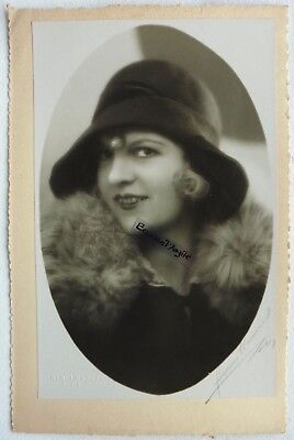 PHOTO MODE 1930 HENRI MANUEL signé chapeau art deco Marthe CHAUMONT G322