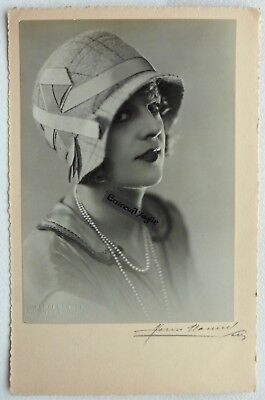 PHOTO MODE 1930 HENRI MANUEL signé chapeau art deco Marthe CHAUMONT G323