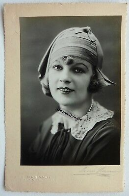 PHOTO MODE 1930 HENRI MANUEL signé chapeau art deco Marthe CHAUMONT G324