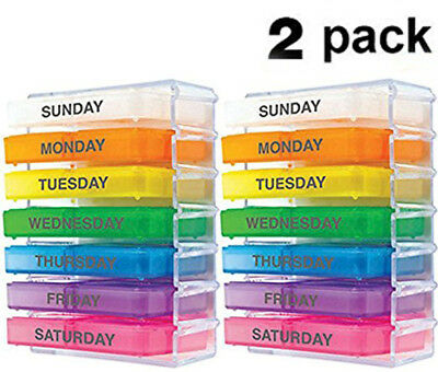 [Set 2] Weekly Pill Organizer Color Coded Container Medicine Holder ~ US Seller