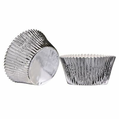 Large Cupcake Cases, Silver 40pcs, Paper/Foil Coated