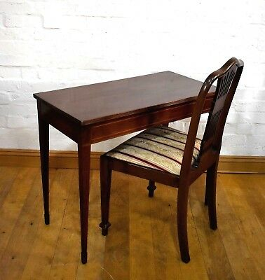 Antique Victorian inlaid mahogany console table / writing desk / dressing table