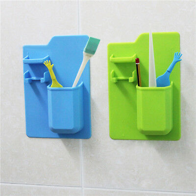 Silicone Toothbrush Toothpaste Holder Stand Razor Rack Storage Toiletry Bathroom