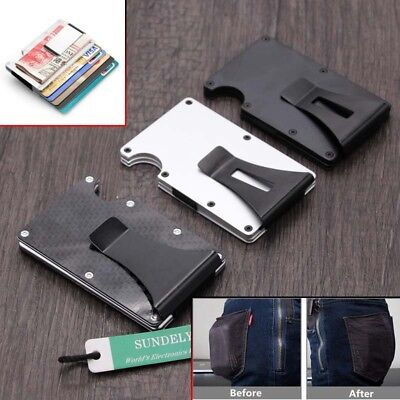 Carbon Fibre ID Wallet Money Clip and Credit Card Holder Slim Small Compact RFID