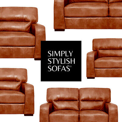 Severo Italian Inspired Tan Leather Sofa 3 2 Seaters Armchairs Clearance